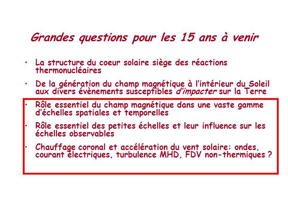 Grandes questions pour les 15 ans à venir •La structure du coeur solaire siège des réactions thermonucléaires •De la génération du champ magnétique à