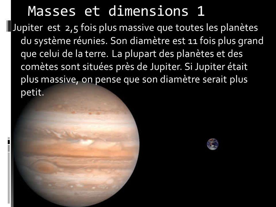 Masses et dimensions 1 Jupiter est 2,5 fois plus massive que toutes les planètes du système réunies.