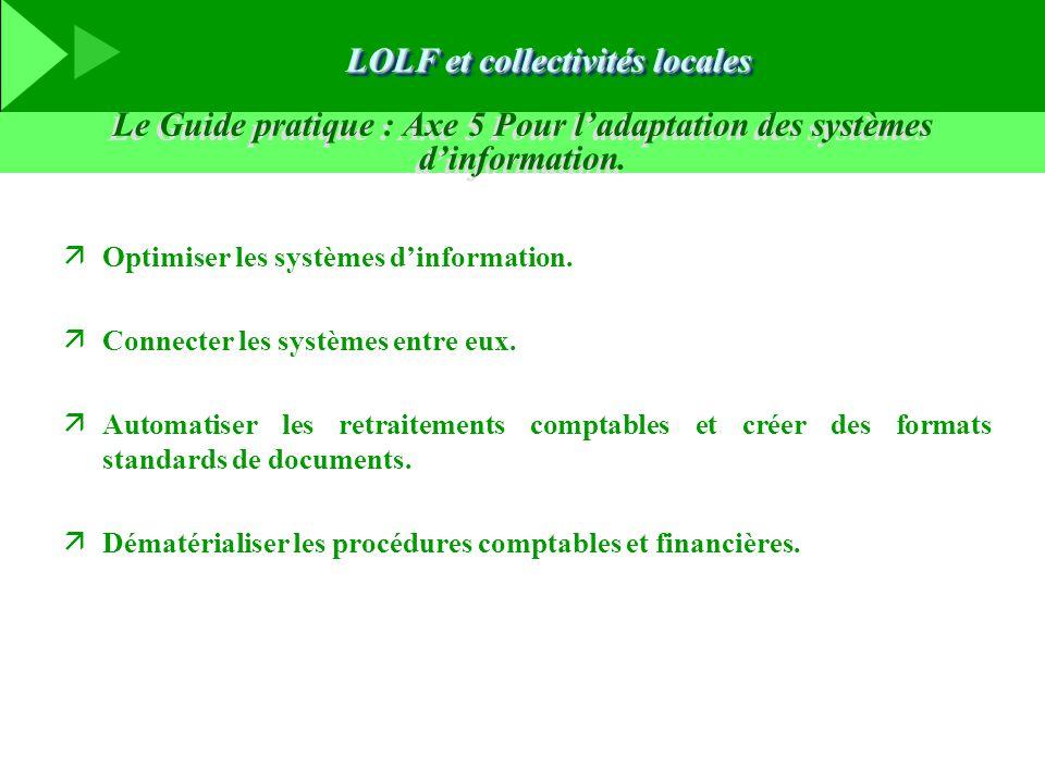 Le Guide pratique : Axe 5 Pour l'adaptation des systèmes d'information. äOptimiser les systèmes d'information. äConnecter les systèmes entre eux. äAut