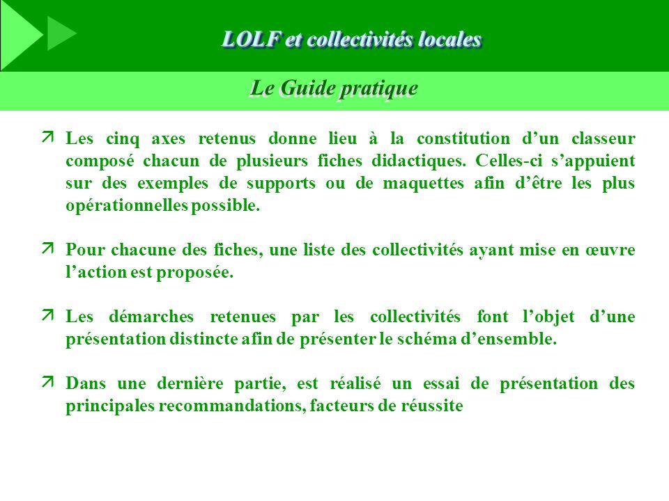 Le Guide pratique äLes cinq axes retenus donne lieu à la constitution d'un classeur composé chacun de plusieurs fiches didactiques. Celles-ci s'appuie