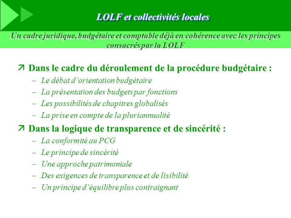äDans le cadre du déroulement de la procédure budgétaire : –Le débat d'orientation budgétaire –La présentation des budgets par fonctions –Les possibil