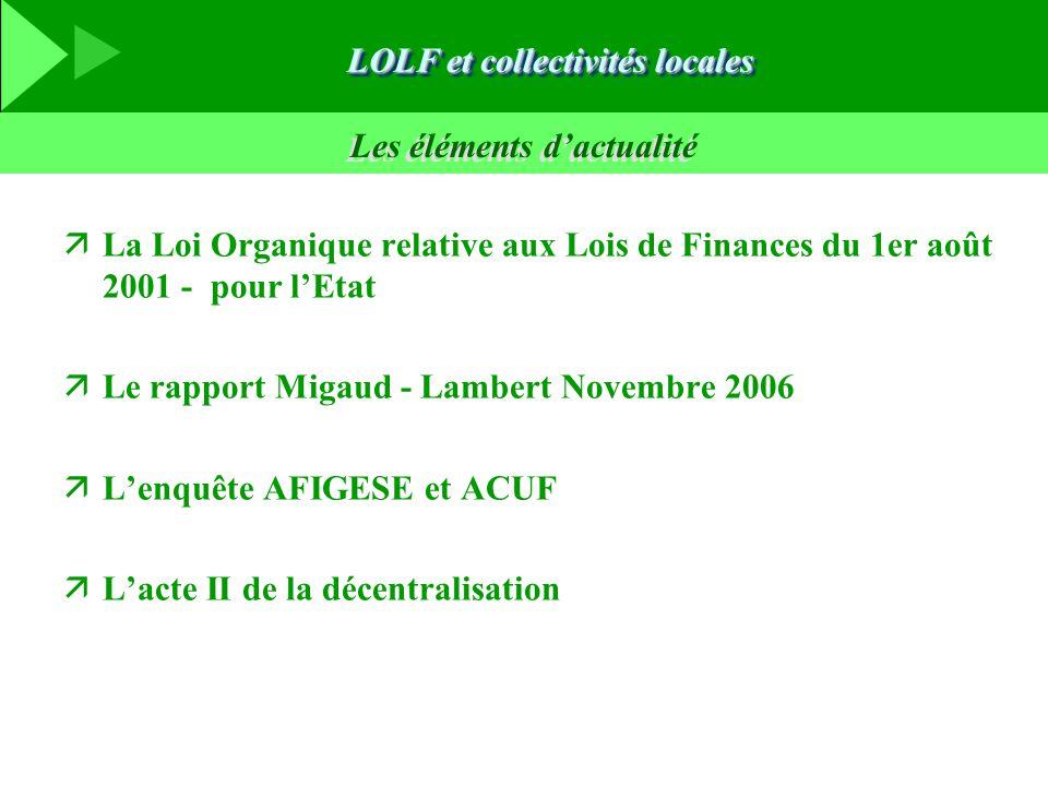 Les éléments d'actualité äLa Loi Organique relative aux Lois de Finances du 1er août 2001 - pour l'Etat äLe rapport Migaud - Lambert Novembre 2006 äL'