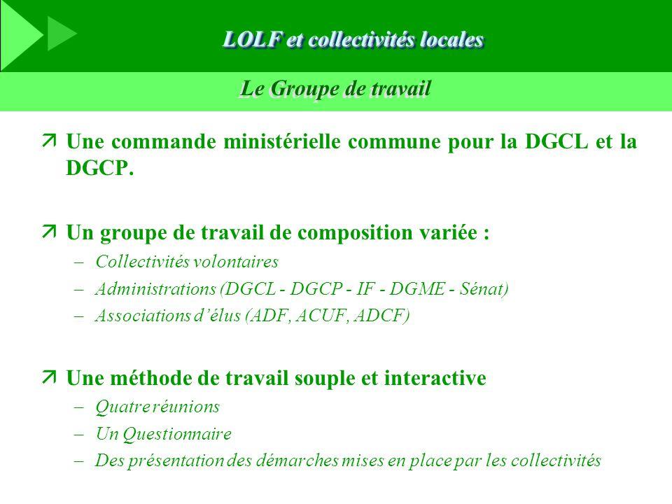 Le Groupe de travail äUne commande ministérielle commune pour la DGCL et la DGCP. äUn groupe de travail de composition variée : –Collectivités volonta