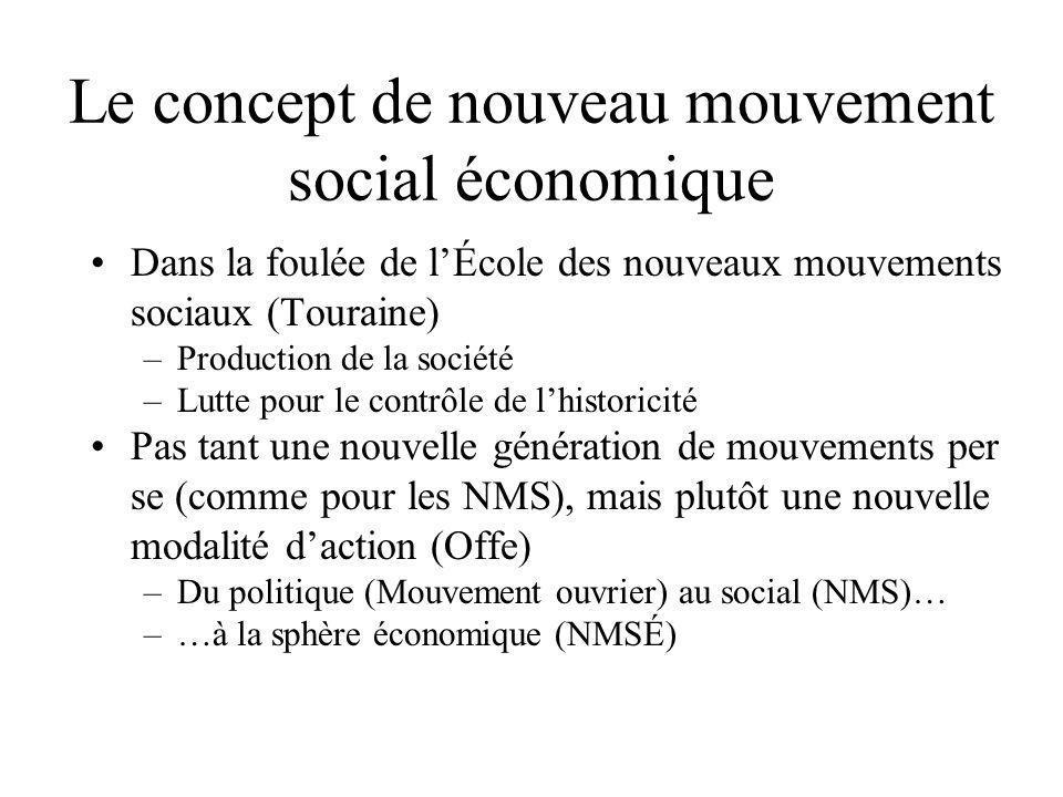 Le concept de nouveau mouvement social économique •Dans la foulée de l'École des nouveaux mouvements sociaux (Touraine) –Production de la société –Lut