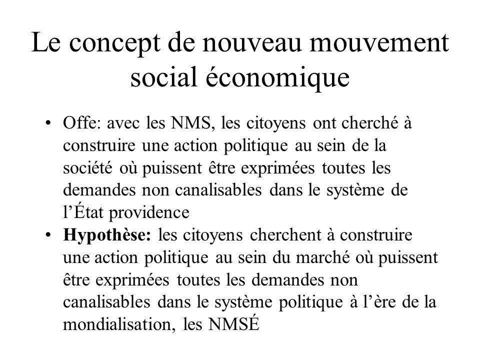 •Offe: avec les NMS, les citoyens ont cherché à construire une action politique au sein de la société où puissent être exprimées toutes les demandes n