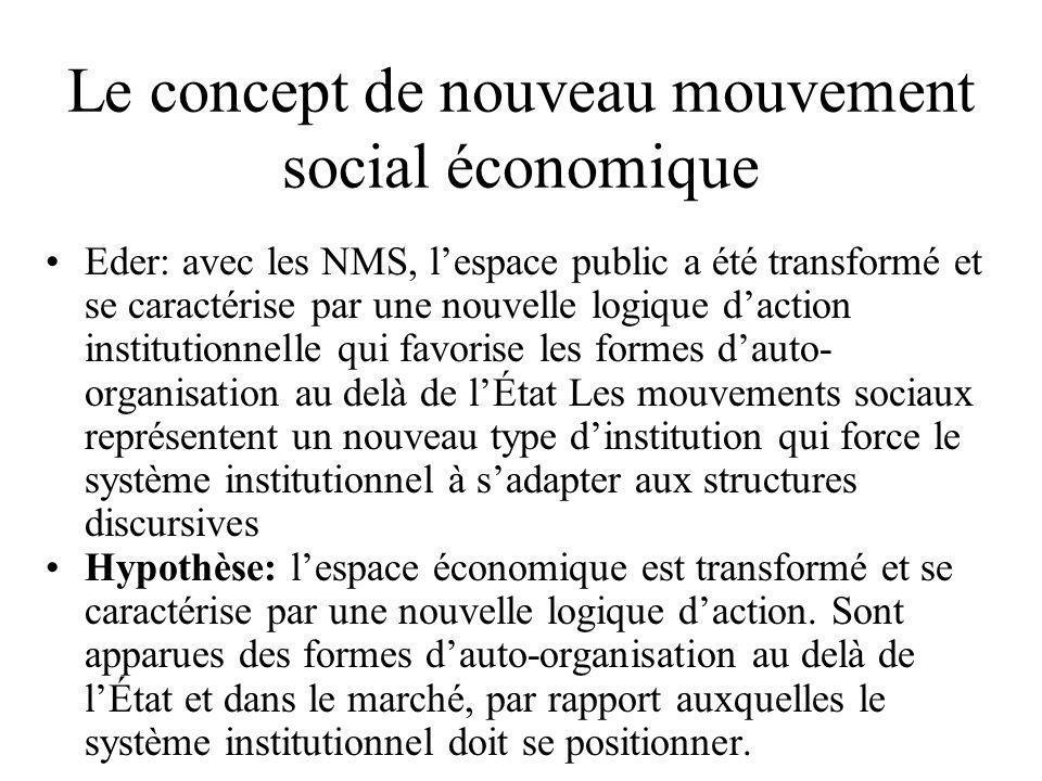 Le concept de nouveau mouvement social économique •Eder: avec les NMS, l'espace public a été transformé et se caractérise par une nouvelle logique d'a