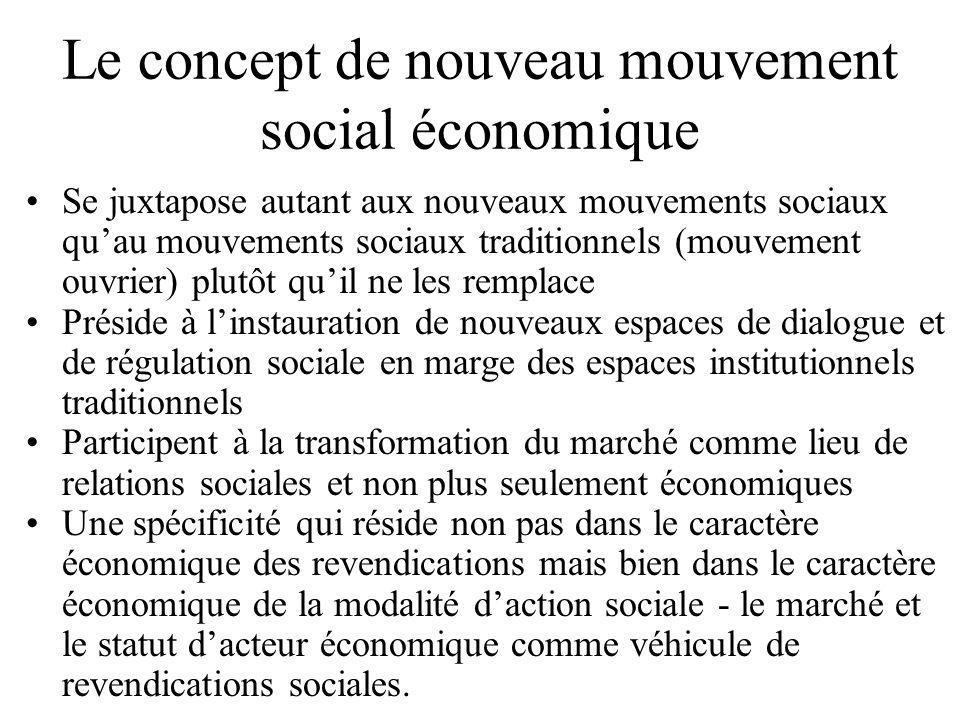 Le concept de nouveau mouvement social économique •Se juxtapose autant aux nouveaux mouvements sociaux qu'au mouvements sociaux traditionnels (mouveme