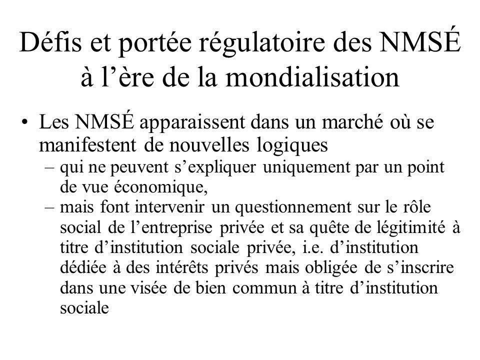 Défis et portée régulatoire des NMSÉ à l'ère de la mondialisation •Les NMSÉ apparaissent dans un marché où se manifestent de nouvelles logiques –qui n