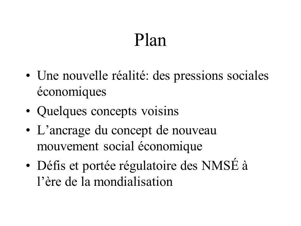 Le concept de nouveau mouvement social économique •Dans la foulée de l'École des nouveaux mouvements sociaux (Touraine) –Production de la société –Lutte pour le contrôle de l'historicité •Pas tant une nouvelle génération de mouvements per se (comme pour les NMS), mais plutôt une nouvelle modalité d'action (Offe) –Du politique (Mouvement ouvrier) au social (NMS)… –…à la sphère économique (NMSÉ)