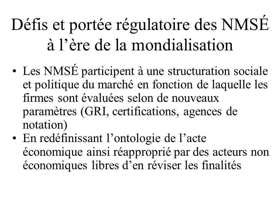 Défis et portée régulatoire des NMSÉ à l'ère de la mondialisation •Les NMSÉ participent à une structuration sociale et politique du marché en fonction