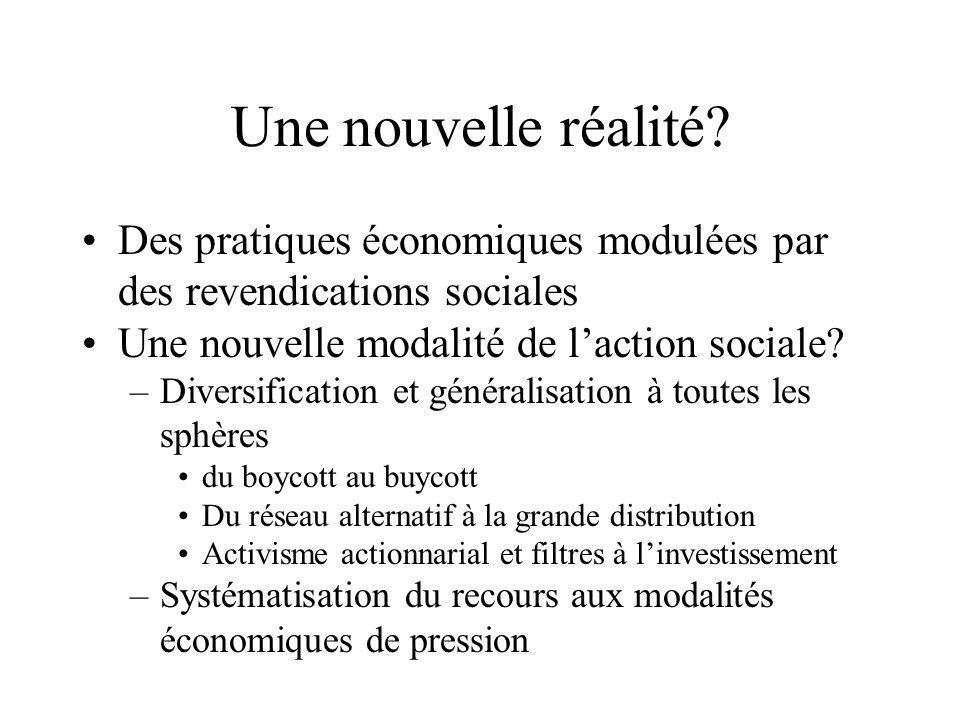 Une nouvelle réalité? •Des pratiques économiques modulées par des revendications sociales •Une nouvelle modalité de l'action sociale? –Diversification