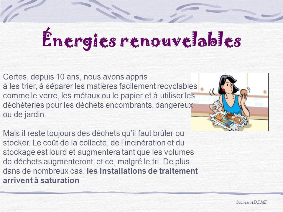 Énergies renouvelables Certes, depuis 10 ans, nous avons appris à les trier, à séparer les matières facilement recyclables comme le verre, les métaux
