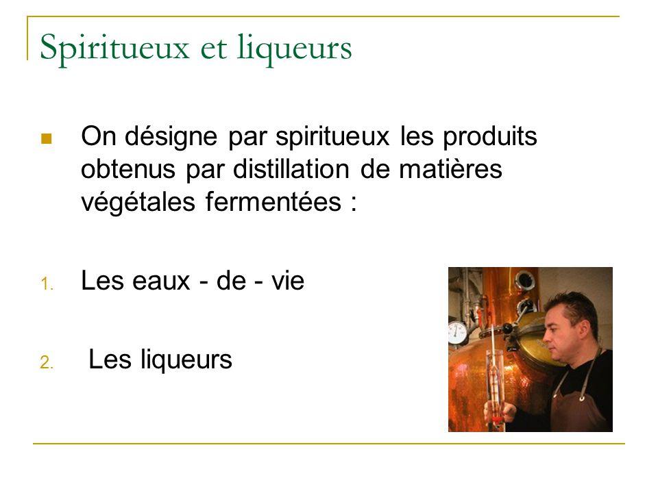 Eau de vie  Boisson fortement alcoolisée  Teneur en alcool : entre 30 et 55 %  Goût typique des matières premières dont elles proviennent