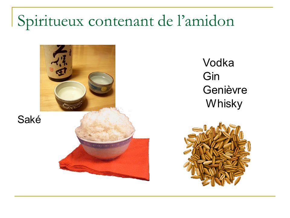 Spiritueux contenant de l'amidon Saké Vodka Gin Genièvre Whisky