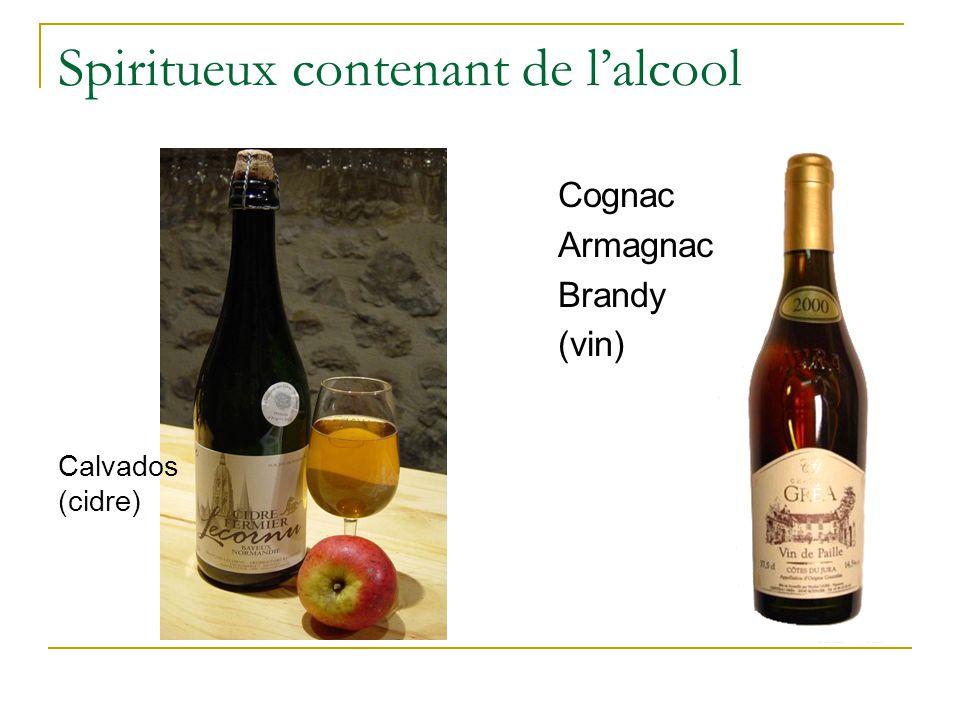 Spiritueux contenant de l'alcool Calvados (cidre) Cognac Armagnac Brandy (vin)