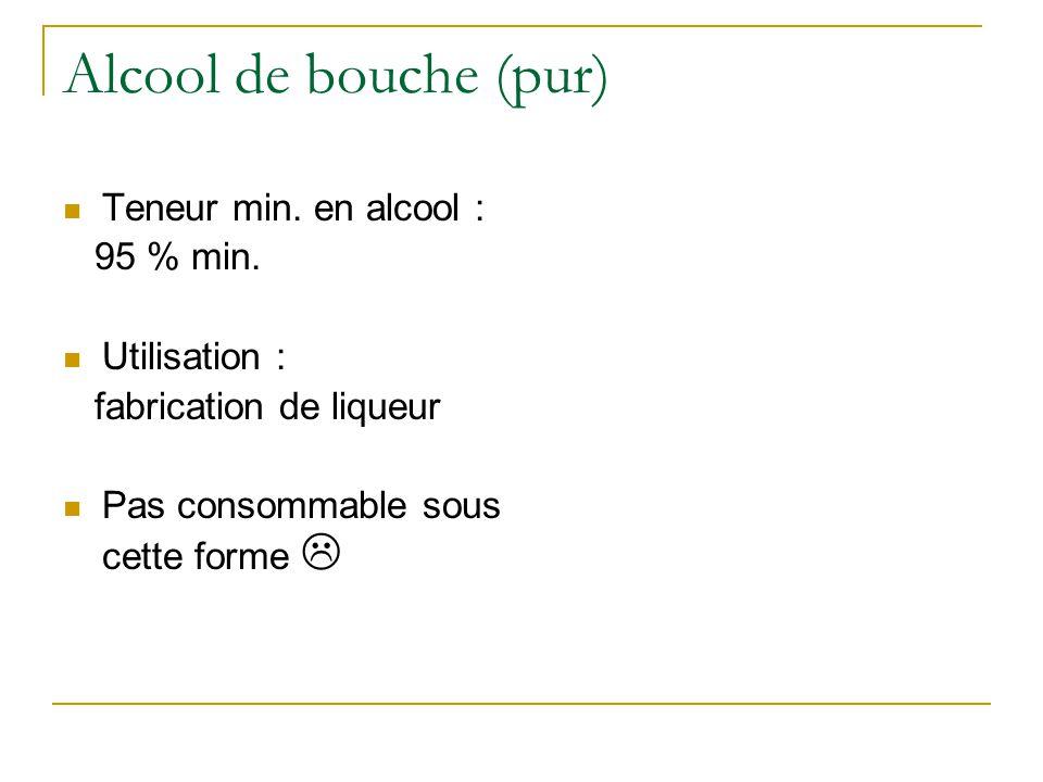 Alcool de bouche (pur)  Teneur min.en alcool : 95 % min.