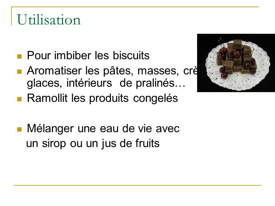 Utilisation  Pour imbiber les biscuits  Aromatiser les pâtes, masses, crèmes, glaces, intérieurs de pralinés…  Ramollit les produits congelés  Mél