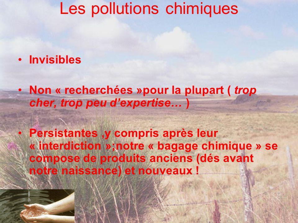 Les pollutions chimiques •Invisibles •Non « recherchées »pour la plupart ( trop cher, trop peu d'expertise… ) •Persistantes,y compris après leur « int