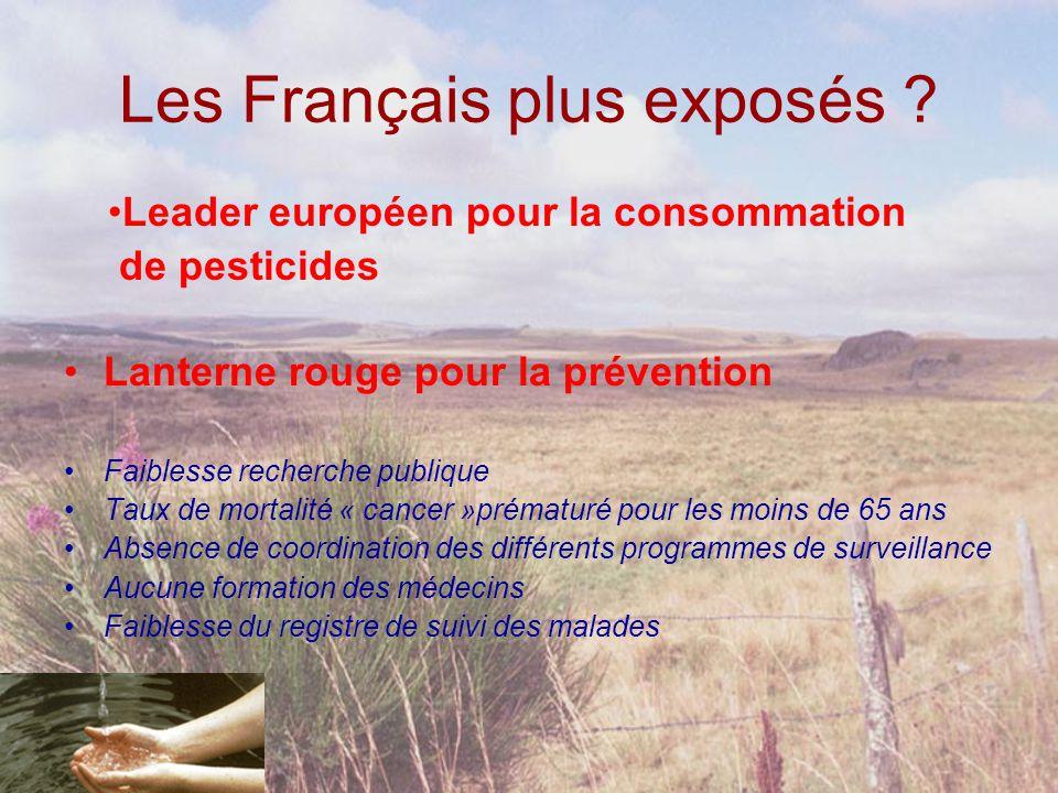 Les Français plus exposés ? •Lanterne rouge pour la prévention •Faiblesse recherche publique •Taux de mortalité « cancer »prématuré pour les moins de