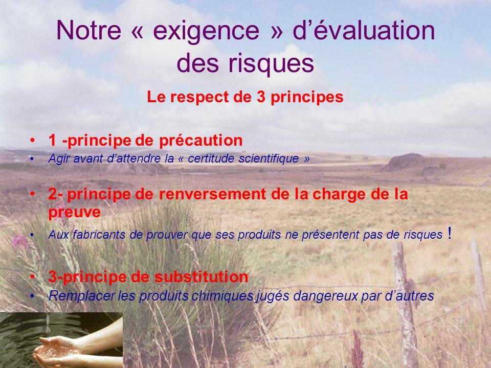 Notre « exigence » d'évaluation des risques Le respect de 3 principes •1 -principe de précaution •Agir avant d'attendre la « certitude scientifique »