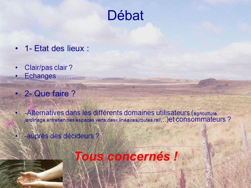 Débat •1- Etat des lieux : •Clair/pas clair ? •Echanges …….. •2- Que faire ? •-Alternatives dans les différents domaines utilisateurs ( agriculture, j