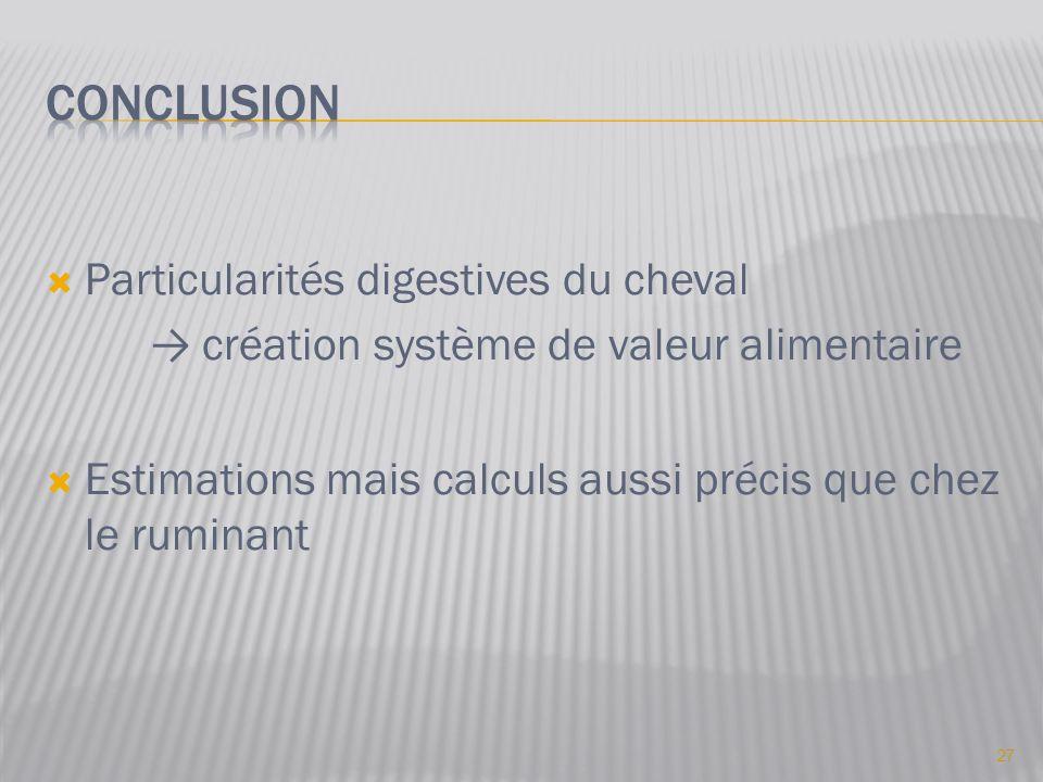  Particularités digestives du cheval → création système de valeur alimentaire  Estimations mais calculs aussi précis que chez le ruminant 27