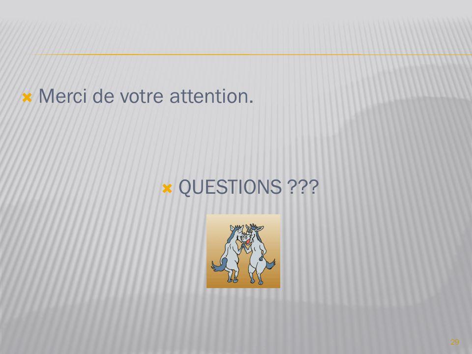  Merci de votre attention.  QUESTIONS ??? 29