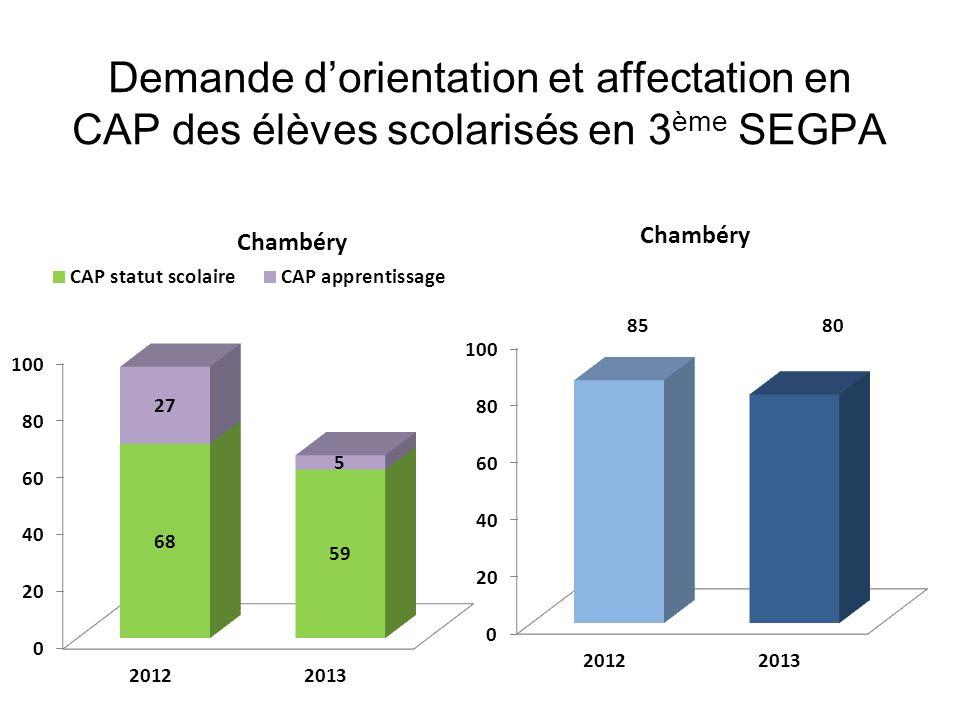 Demande d'orientation et affectation en CAP des élèves scolarisés en 3 ème SEGPA