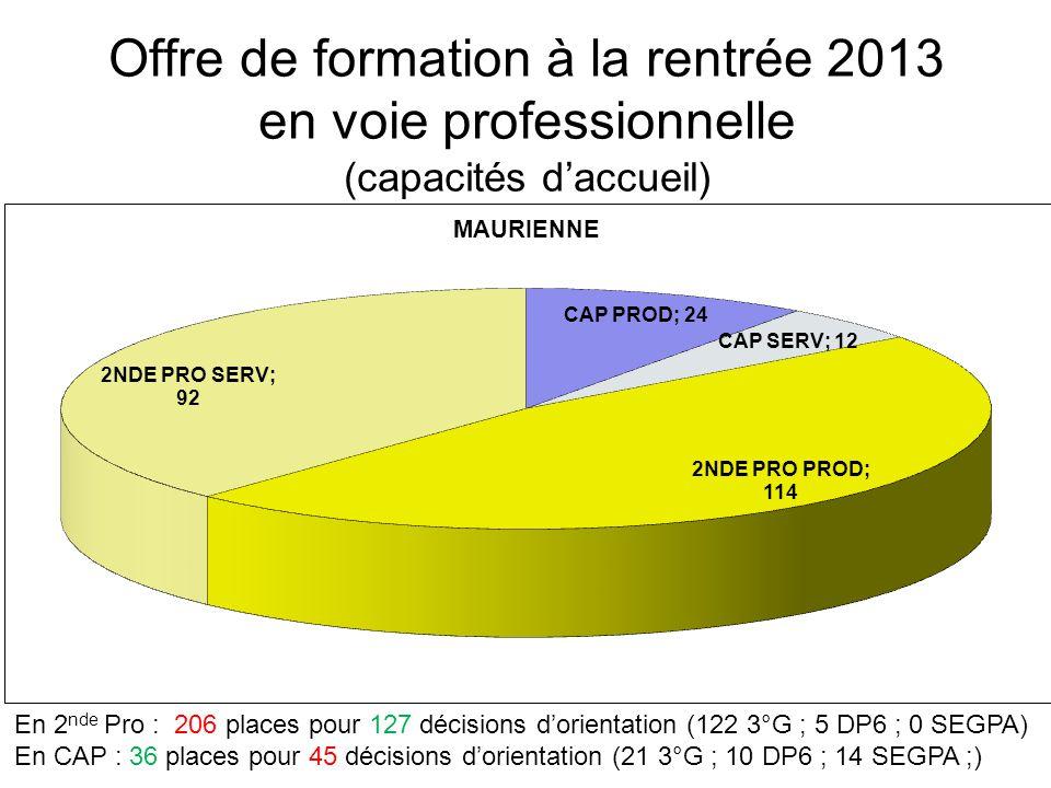 Offre de formation à la rentrée 2013 en voie professionnelle (capacités d'accueil) En 2 nde Pro : 293 places pour 302 décisions d'orientation (277 3°G ; 25 DP6 ; 0 SEGPA) En CAP : 108 places pour 126 décisions d'orientation (53 3°G ; 23 DP6 ; 50 SEGPA)