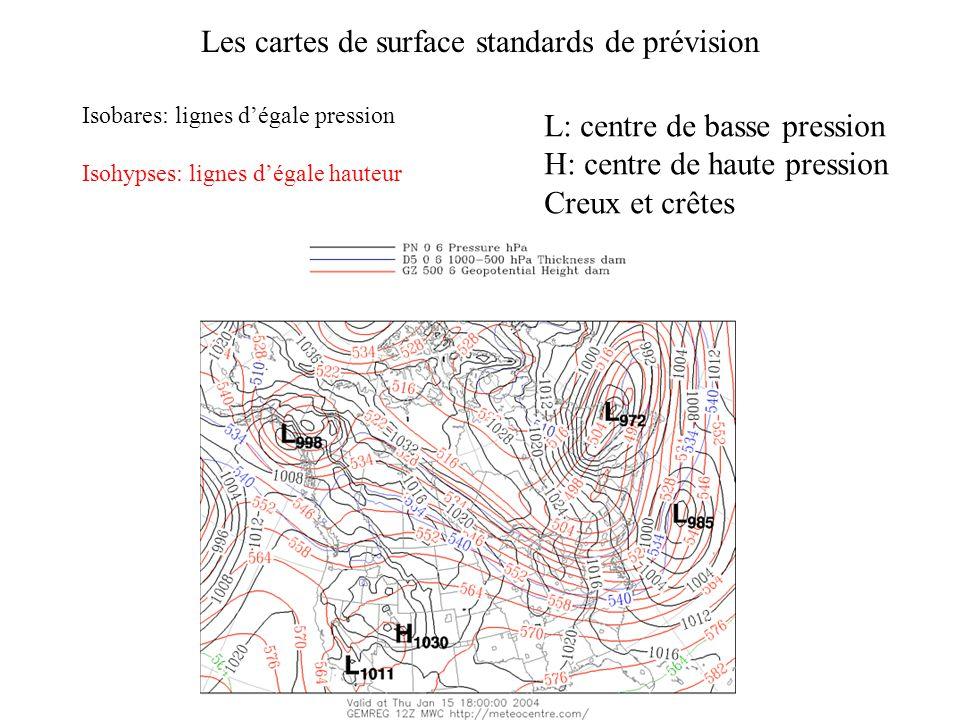 Isobares: lignes d'égale pression Isohypses: lignes d'égale hauteur Les cartes de surface standards de prévision L: centre de basse pression H: centre de haute pression Creux et crêtes