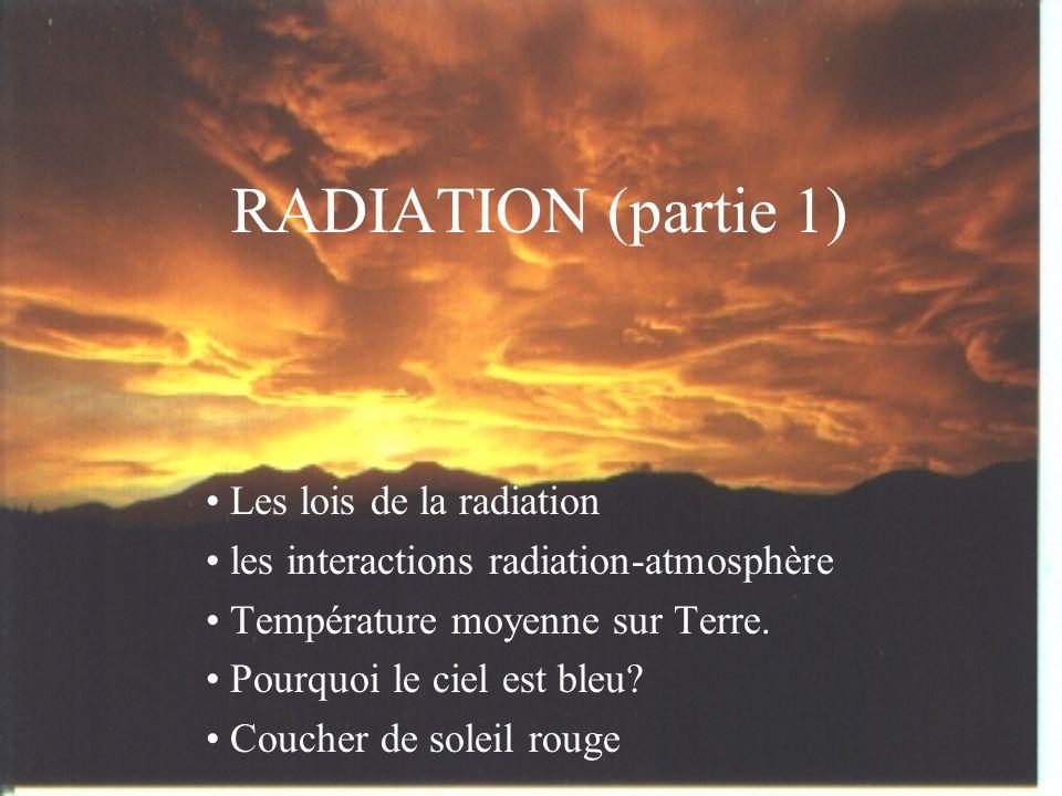 RADIATION (partie 1) • Les lois de la radiation • les interactions radiation-atmosphère • Température moyenne sur Terre.