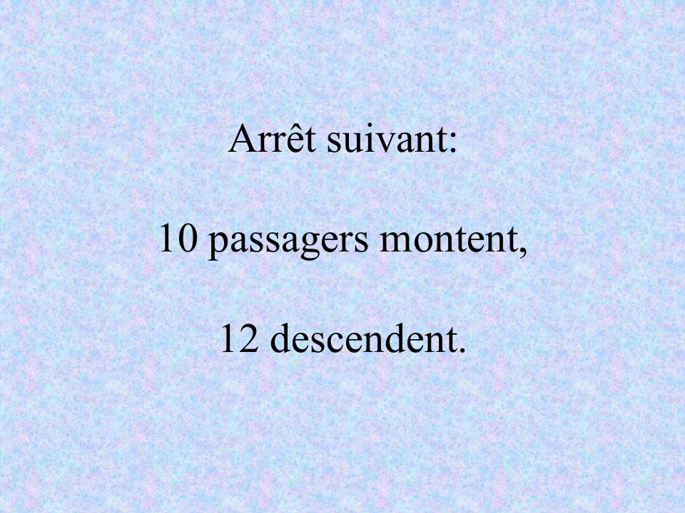 Arrêt suivant: 10 passagers montent, 12 descendent.