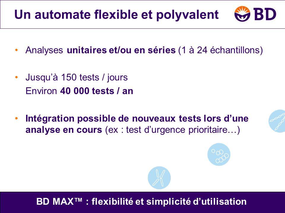 •Analyses unitaires et/ou en séries (1 à 24 échantillons) •Jusqu'à 150 tests / jours Environ 40 000 tests / an •Intégration possible de nouveaux tests
