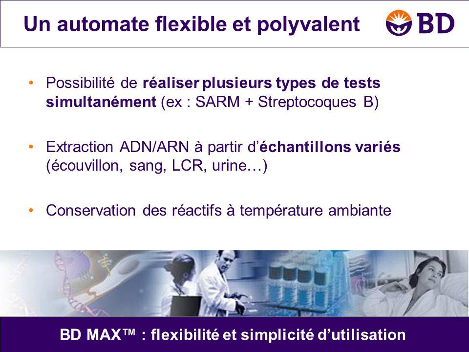 •Possibilité de réaliser plusieurs types de tests simultanément (ex : SARM + Streptocoques B) •Extraction ADN/ARN à partir d'échantillons variés (écou