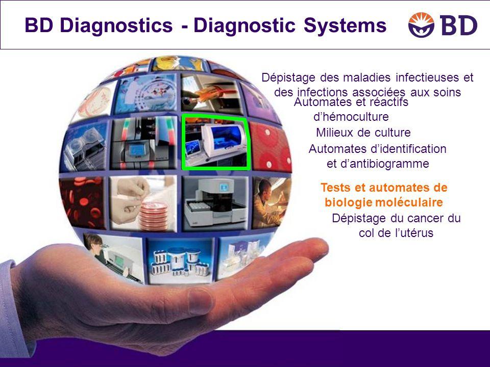 BD Diagnostics - Diagnostic Systems Automates et réactifs d'hémoculture Milieux de culture Tests et automates de biologie moléculaire Automates d'iden