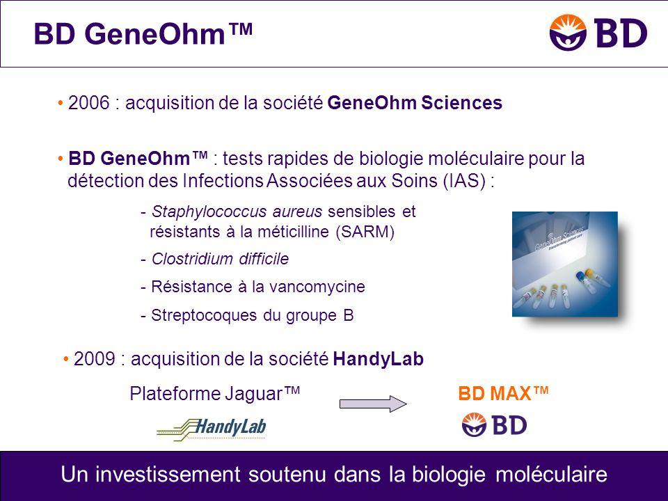 BD GeneOhm™ BD MAX™Plateforme Jaguar™ Un investissement soutenu dans la biologie moléculaire • 2006 : acquisition de la société GeneOhm Sciences • 200
