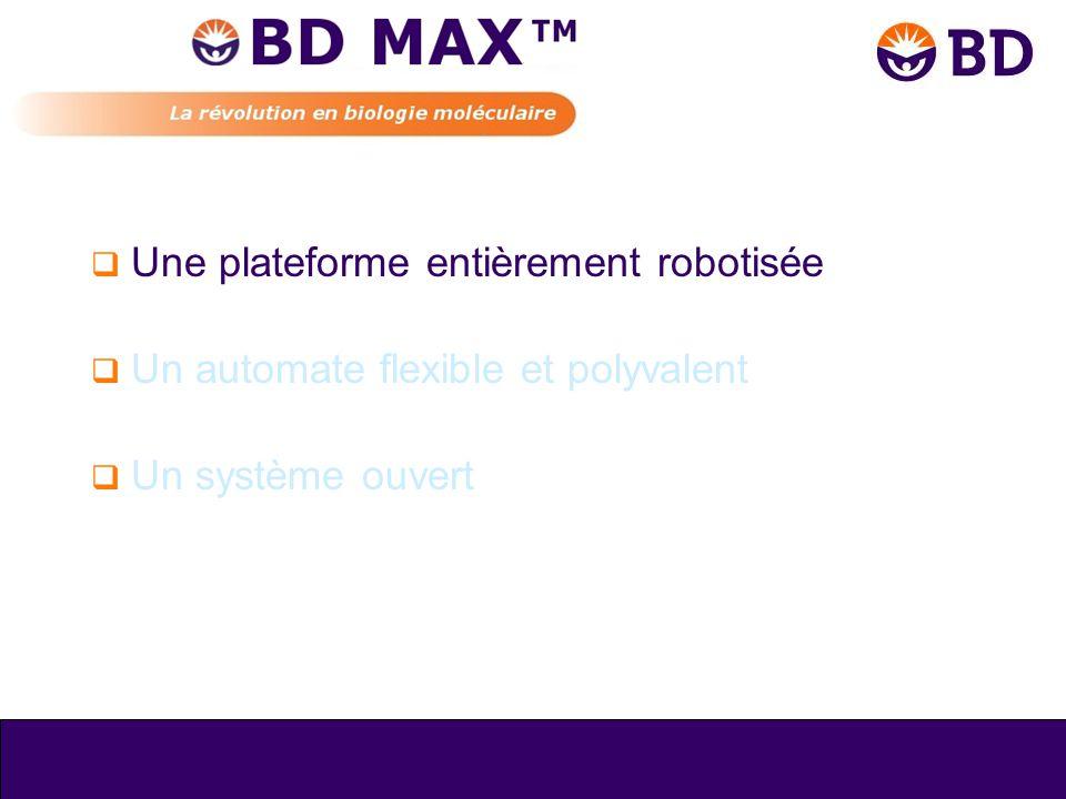Automatisation complète BD MAX™ •Purification •Détection •Amplification •Extraction ADN / ARN Robotisation totale de la biologie moléculaire sur un seul automate