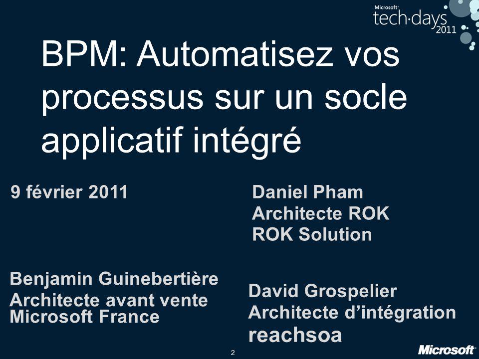 2 BPM: Automatisez vos processus sur un socle applicatif intégré 9 février 2011 David Grospelier Architecte d'intégration reachsoa Daniel Pham Archite