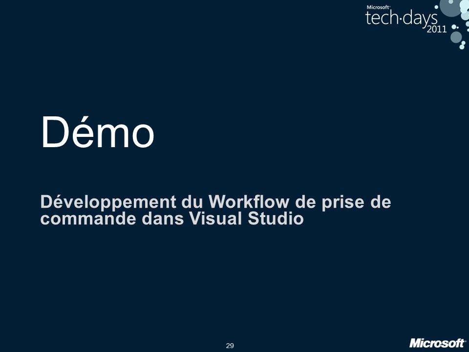 29 Démo Développement du Workflow de prise de commande dans Visual Studio