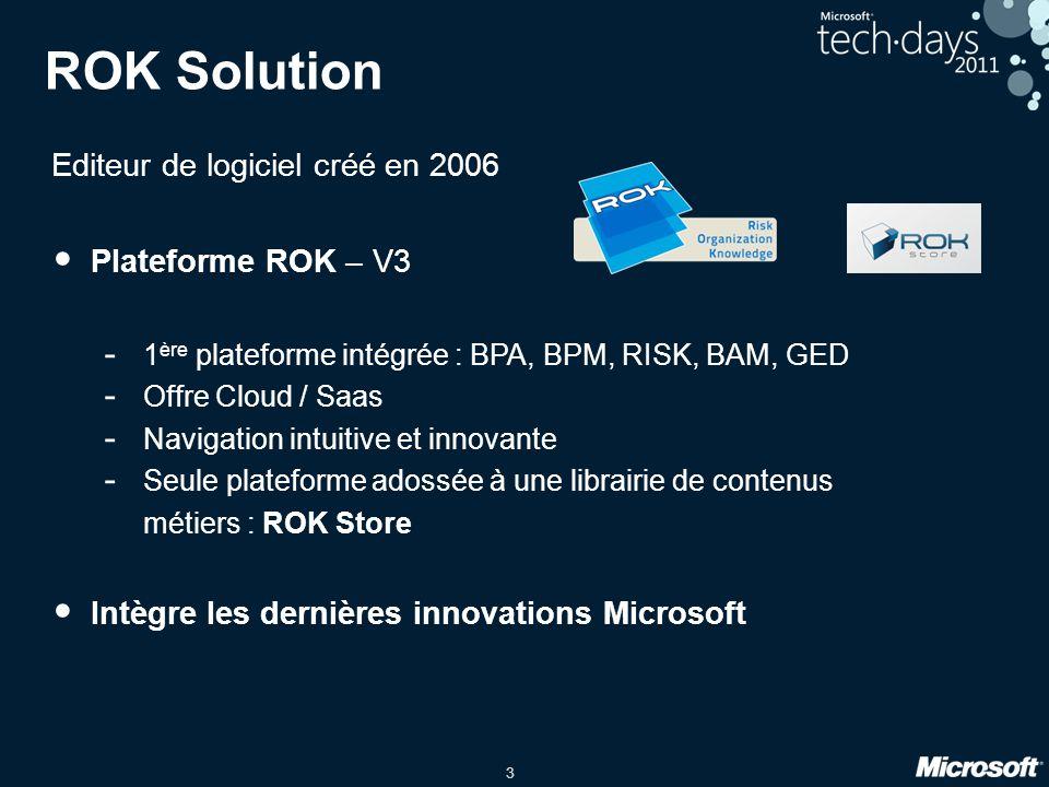 3 ROK Solution Editeur de logiciel créé en 2006 • Plateforme ROK – V3 - 1 ère plateforme intégrée : BPA, BPM, RISK, BAM, GED - Offre Cloud / Saas - Na