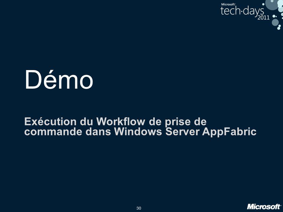 30 Démo Exécution du Workflow de prise de commande dans Windows Server AppFabric