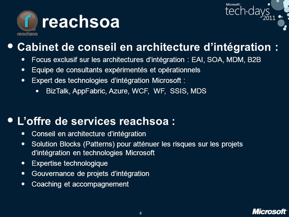 4 reachsoa • Cabinet de conseil en architecture d'intégration : • Focus exclusif sur les architectures d'intégration : EAI, SOA, MDM, B2B • Equipe de