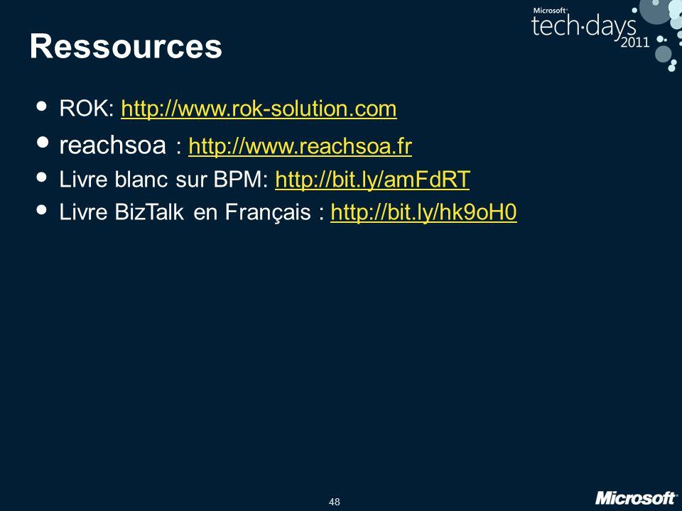 48 Ressources • ROK: http://www.rok-solution.comhttp://www.rok-solution.com • reachsoa : http://www.reachsoa.frhttp://www.reachsoa.fr • Livre blanc su