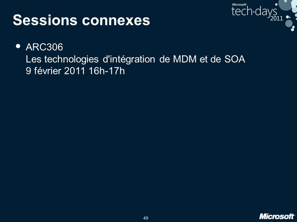49 Sessions connexes • ARC306 Les technologies d'intégration de MDM et de SOA 9 février 2011 16h-17h