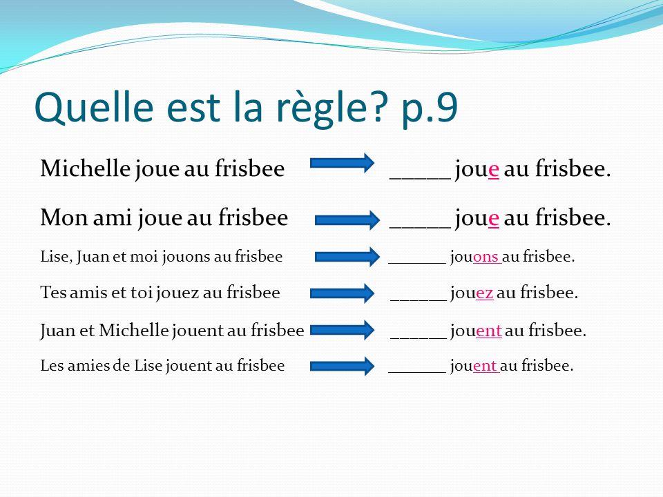 Quelle est la règle? p.9 Michelle joue au frisbee _____ joue au frisbee. Mon ami joue au frisbee _____ joue au frisbee. Lise, Juan et moi jouons au fr