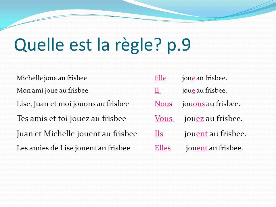 Quelle est la règle? p.9 Michelle joue au frisbee Ellejoue au frisbee. Mon ami joue au frisbee Il joue au frisbee. Lise, Juan et moi jouons au frisbee