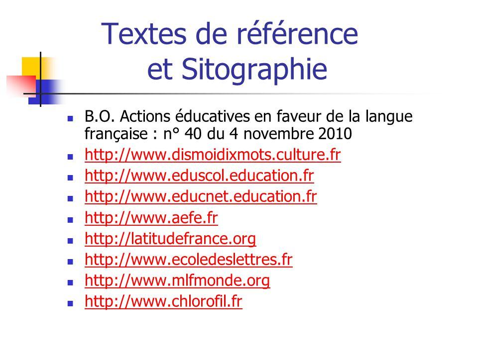 Textes de référence et Sitographie  B.O.