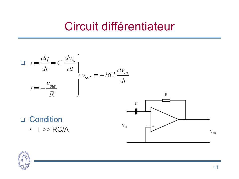 11 Circuit différentiateur   Condition •T >> RC/A