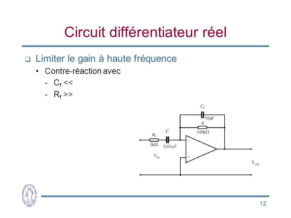 12 Circuit différentiateur réel  Limiter le gain à haute fréquence •Contre-réaction avec -C f << -R f >>