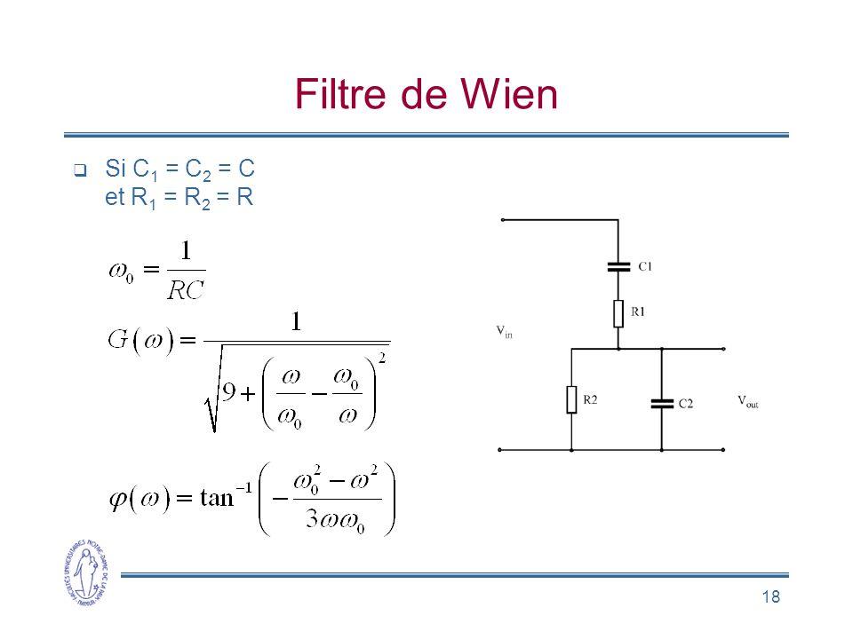 18 Filtre de Wien  Si C 1 = C 2 = C et R 1 = R 2 = R
